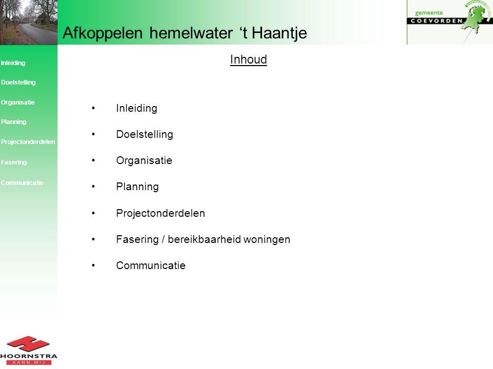 Inhoud Inleiding Doelstelling Organisatie Planning Projectonderdelen