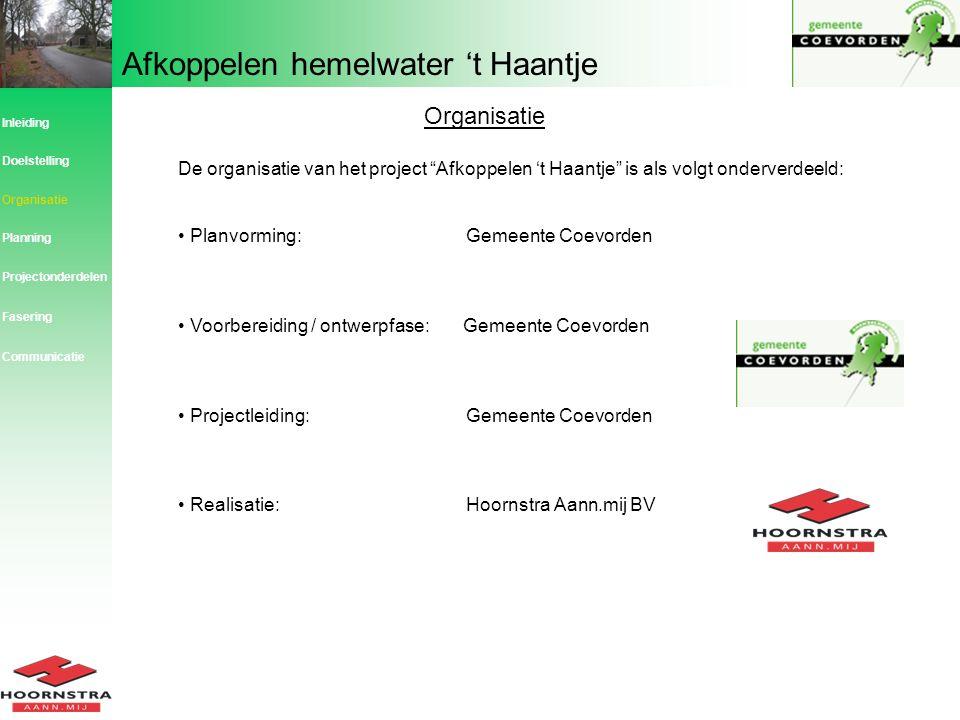 Organisatie Inleiding. Doelstelling. De organisatie van het project Afkoppelen 't Haantje is als volgt onderverdeeld: