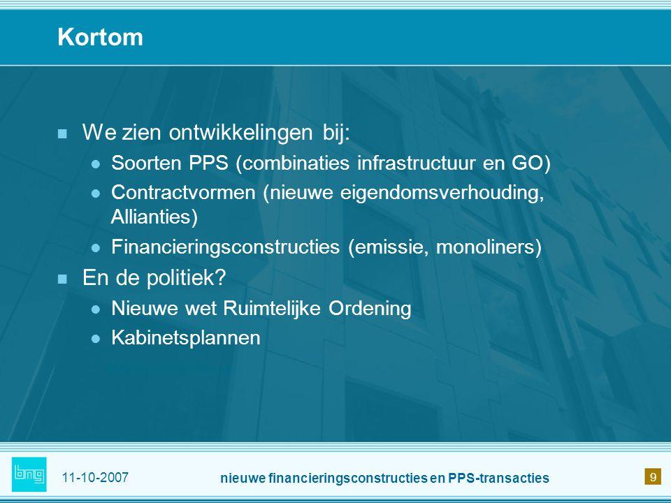 nieuwe financieringsconstructies en PPS-transacties