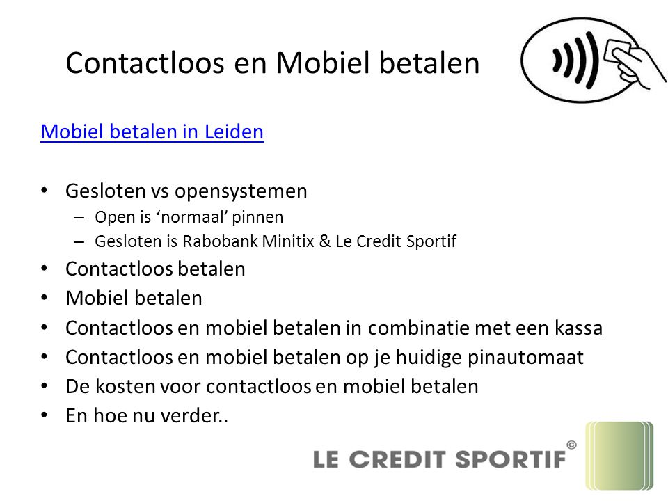 Contactloos en Mobiel betalen