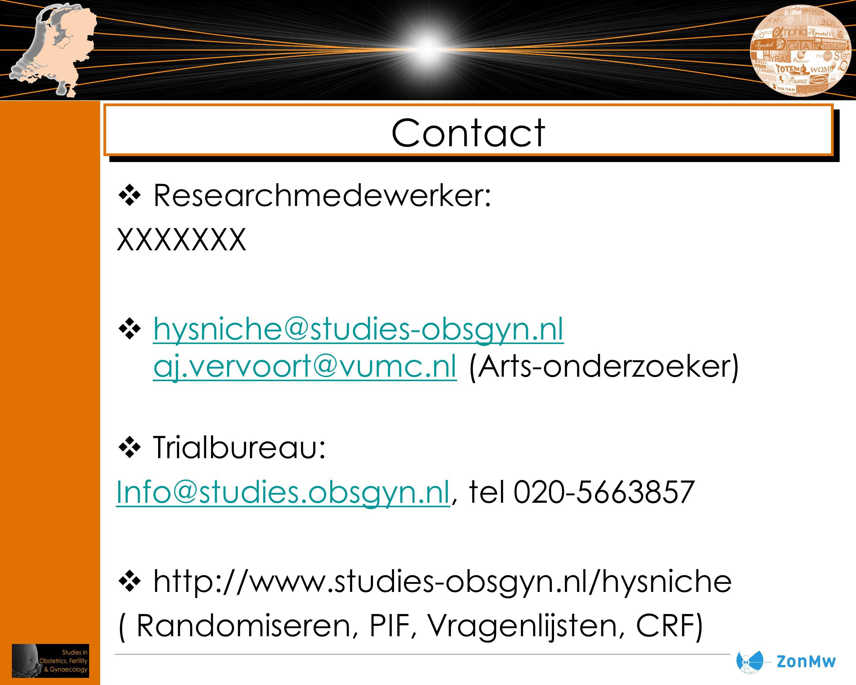 Contact Researchmedewerker: XXXXXXX