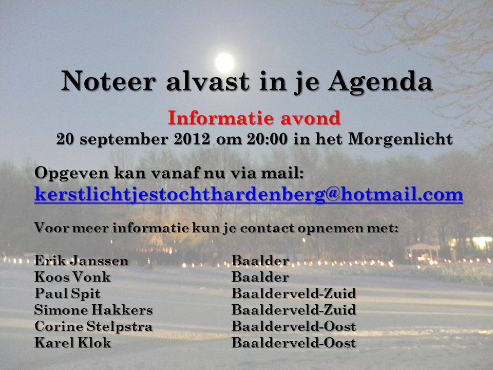 Noteer alvast in je Agenda