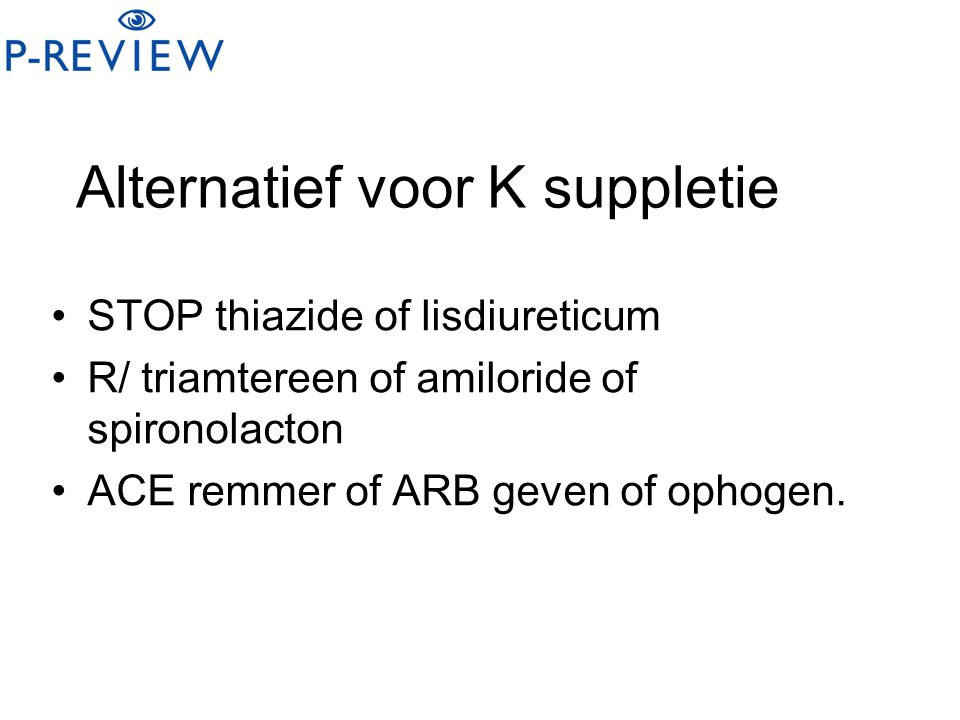 Alternatief voor K suppletie