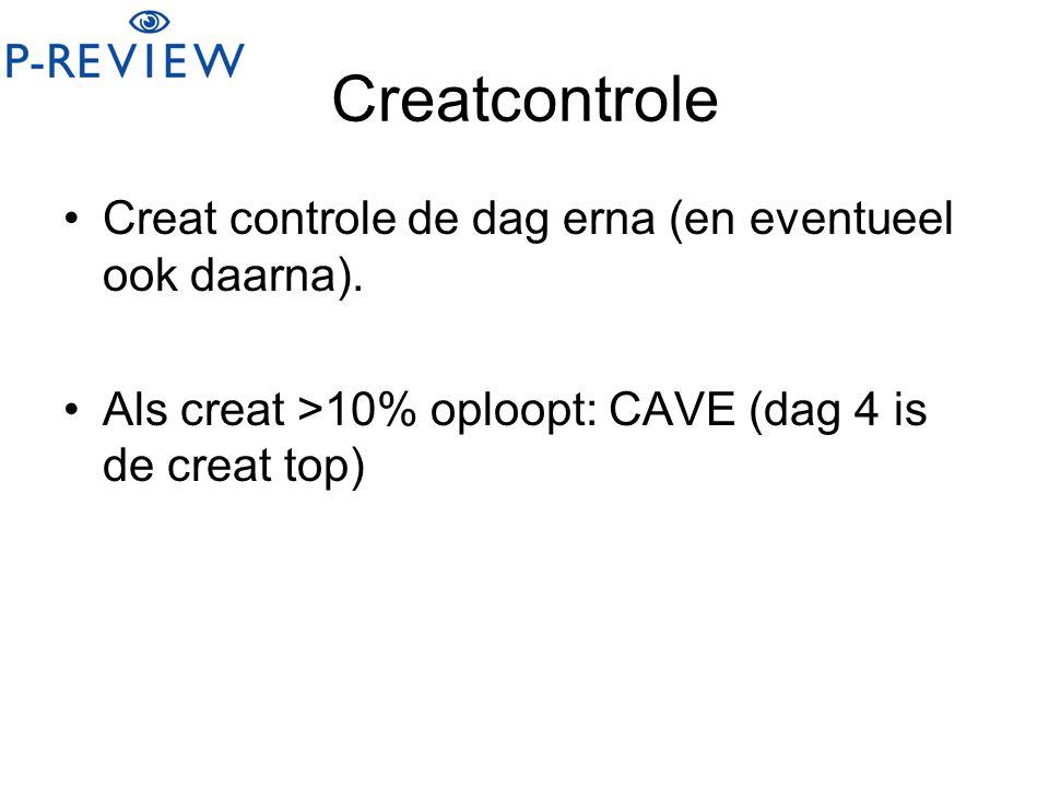 Creatcontrole Creat controle de dag erna (en eventueel ook daarna).