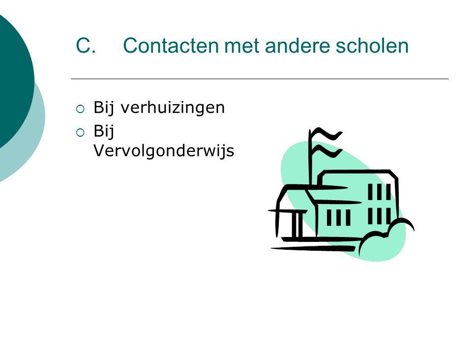 C. Contacten met andere scholen