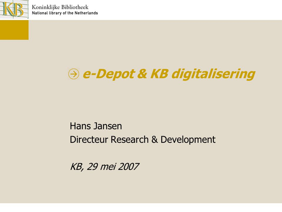 e-Depot & KB digitalisering