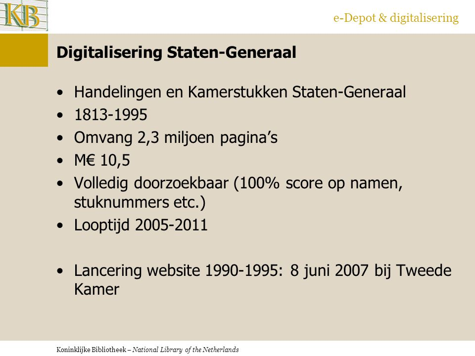 Digitalisering Staten-Generaal