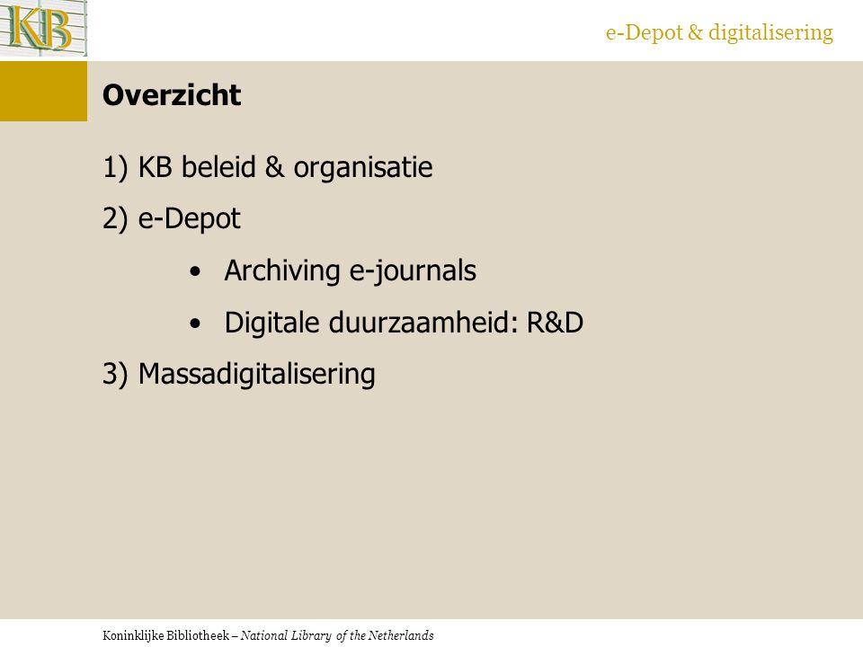 KB beleid & organisatie e-Depot Archiving e-journals