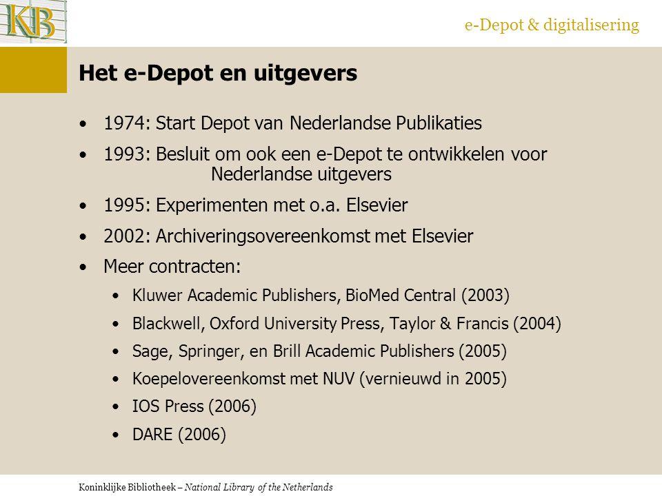 Het e-Depot en uitgevers