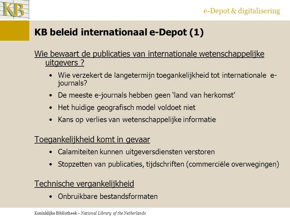 KB beleid internationaal e-Depot (1)