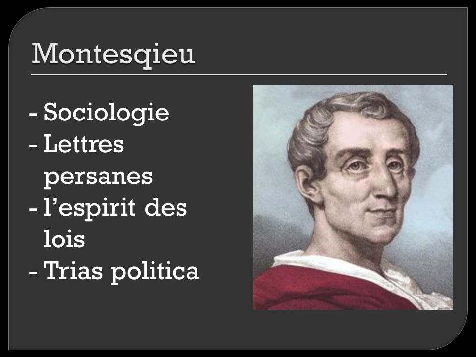 Montesqieu Sociologie Lettres persanes l'espirit des lois