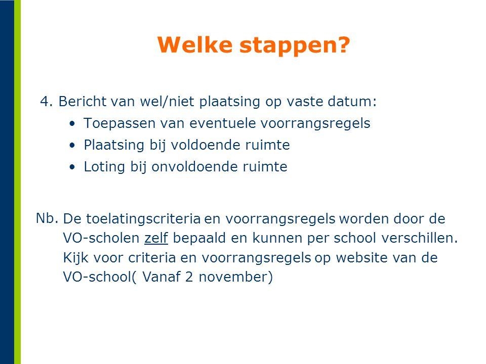 Welke stappen 4. Bericht van wel/niet plaatsing op vaste datum: