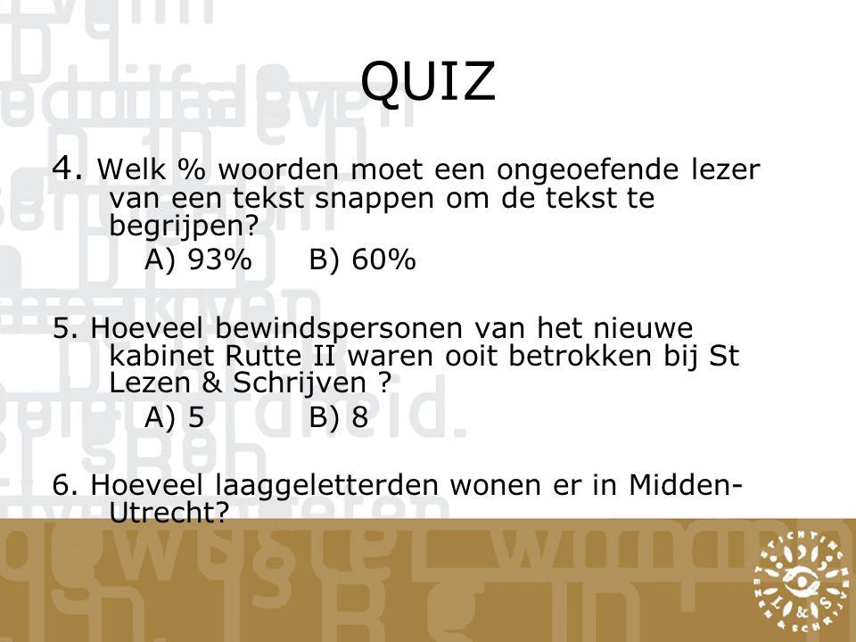 QUIZ 4. Welk % woorden moet een ongeoefende lezer van een tekst snappen om de tekst te begrijpen A) 93% B) 60%
