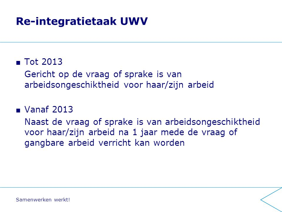 Re-integratietaak UWV