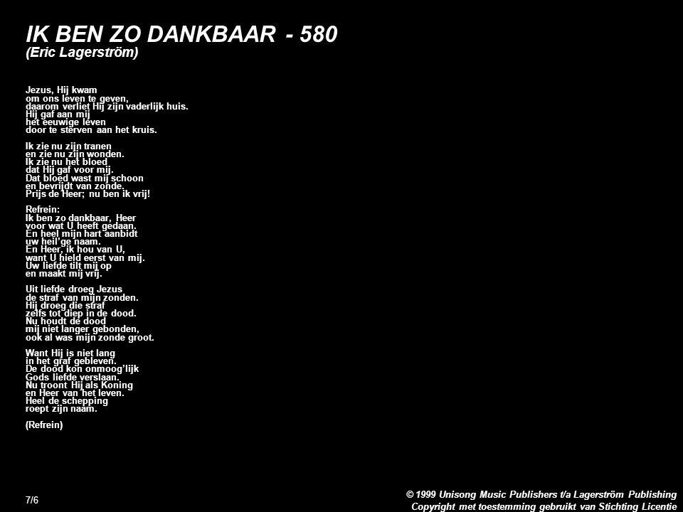 IK BEN ZO DANKBAAR - 580 (Eric Lagerström)