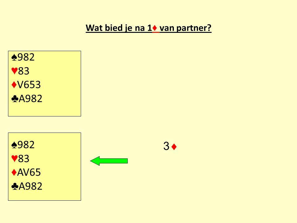Wat bied je na 1♦ van partner
