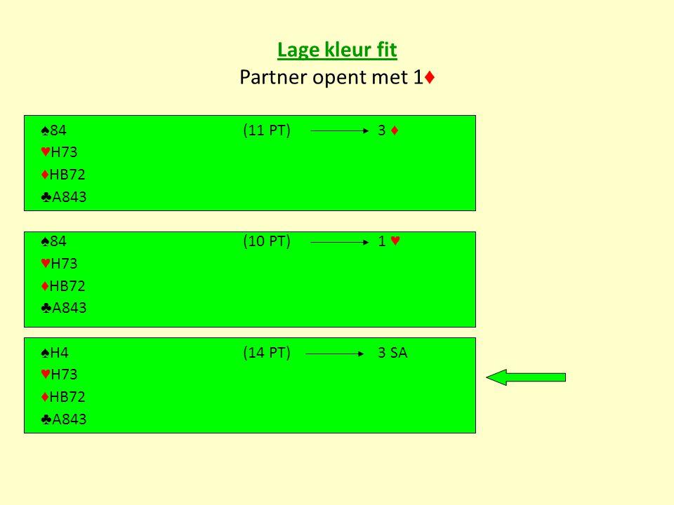 Lage kleur fit Partner opent met 1♦