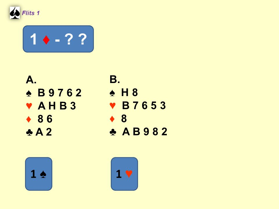 Flits 1 1 ♦ - A. ♠ B 9 7 6 2. ♥ A H B 3. ♦ 8 6. ♣ A 2. B. ♠ H 8. ♥ B 7 6 5 3. ♦ 8.