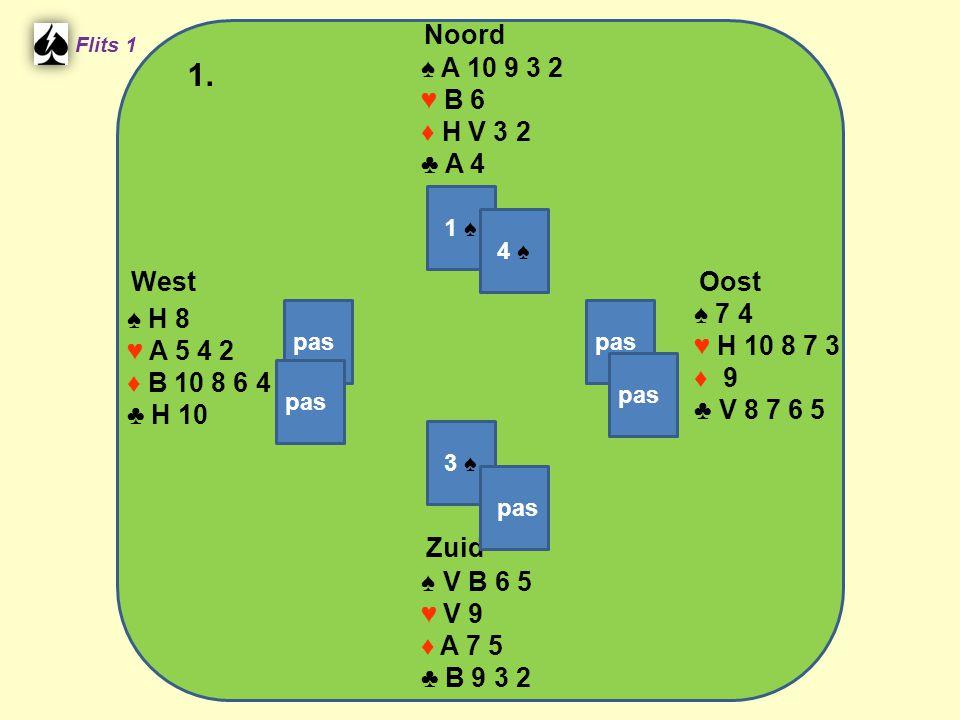 West Noord 1. Zuid ♠ A 10 9 3 2 ♥ B 6 ♦ H V 3 2 ♣ A 4 ♠ 7 4 ♠ H 8