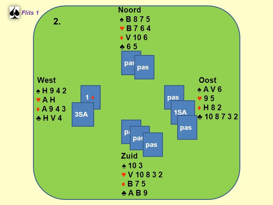 West Noord 2. Zuid ♠ B 8 7 5 ♥ B 7 6 4 ♦ V 10 6 ♣ 6 5 ♠ A V 6