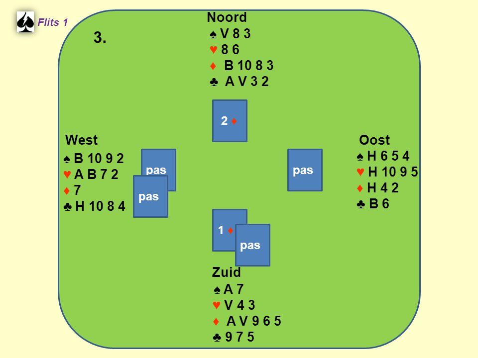 West Noord 3. Zuid ♠ V 8 3 ♥ 8 6 ♦ B 10 8 3 ♣ A V 3 2 ♠ H 6 5 4