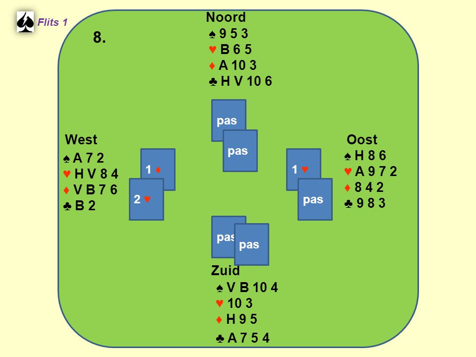 West Noord 8. Zuid ♠ 9 5 3 ♥ B 6 5 ♦ A 10 3 ♣ H V 10 6 ♠ H 8 6 ♠ A 7 2