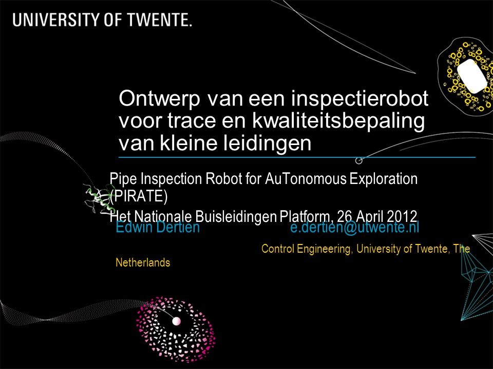 Ontwerp van een inspectierobot voor trace en kwaliteitsbepaling van kleine leidingen