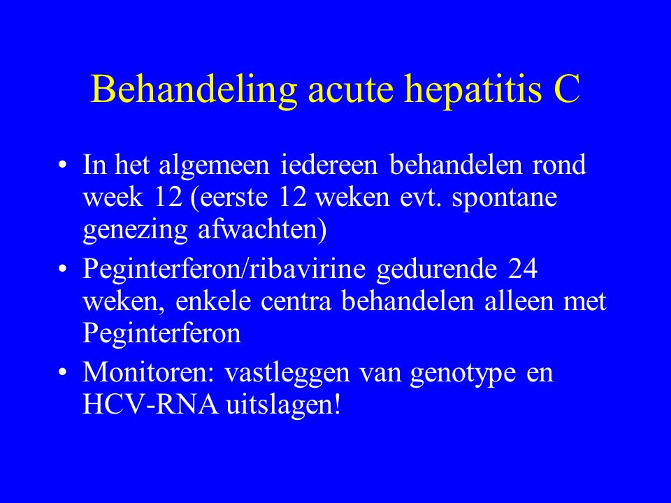 Behandeling acute hepatitis C
