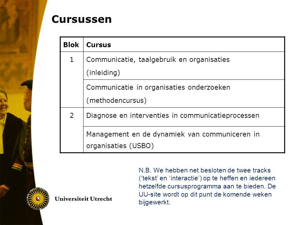 Cursussen Blok Cursus 1 Communicatie, taalgebruik en organisaties