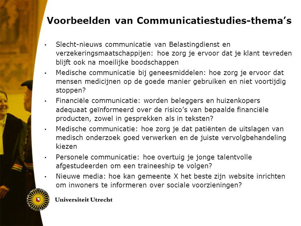 Voorbeelden van Communicatiestudies-thema's