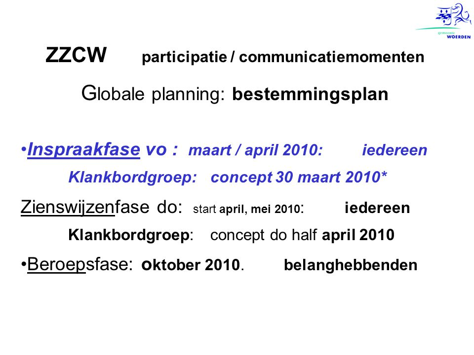 ZZCW participatie / communicatiemomenten