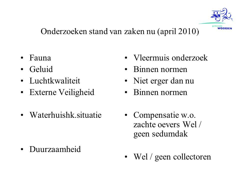Onderzoeken stand van zaken nu (april 2010)