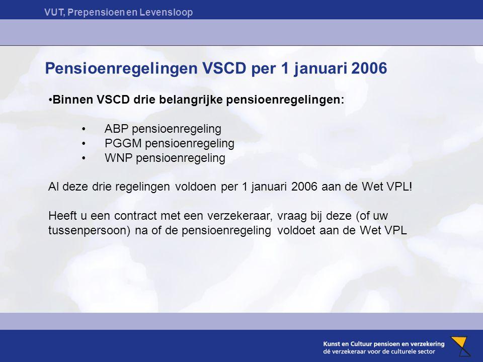 Pensioenregelingen VSCD per 1 januari 2006