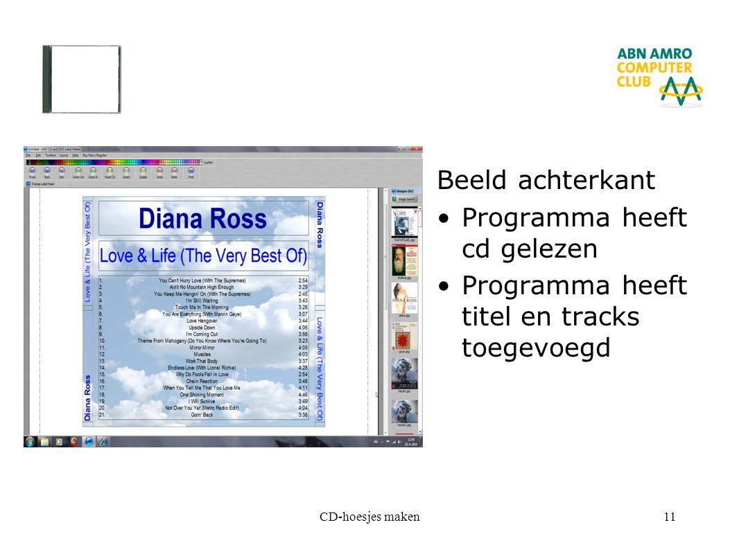 Programma heeft cd gelezen Programma heeft titel en tracks toegevoegd