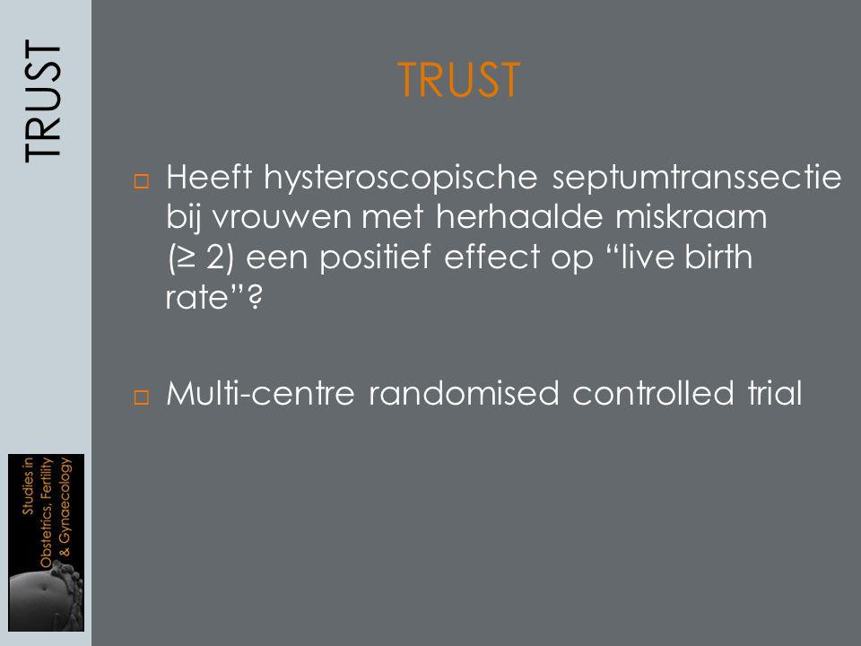 TRUST TRUST. Heeft hysteroscopische septumtranssectie bij vrouwen met herhaalde miskraam (≥ 2) een positief effect op live birth rate