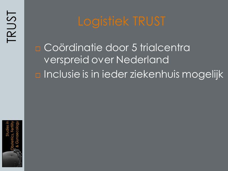 TRUST Logistiek TRUST. Coördinatie door 5 trialcentra verspreid over Nederland.