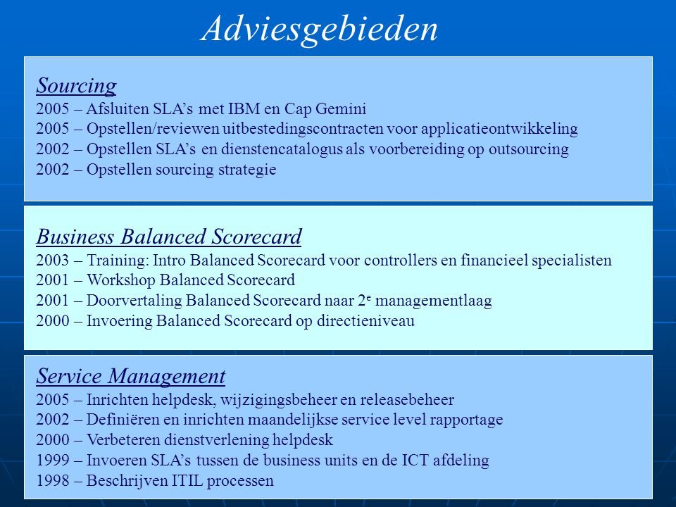 Adviesgebieden Sourcing Business Balanced Scorecard Service Management