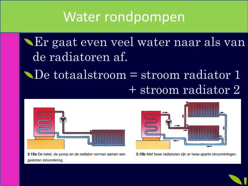 Water rondpompen Er gaat even veel water naar als van de radiatoren af.