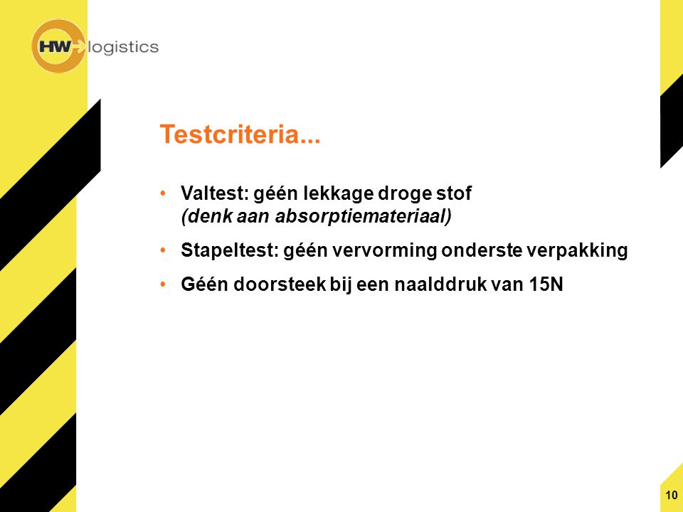 Testcriteria... Valtest: géén lekkage droge stof (denk aan absorptiemateriaal) Stapeltest: géén vervorming onderste verpakking.
