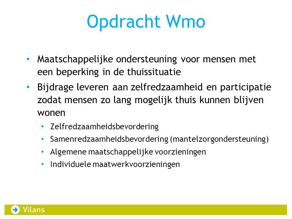 Opdracht Wmo Maatschappelijke ondersteuning voor mensen met een beperking in de thuissituatie.