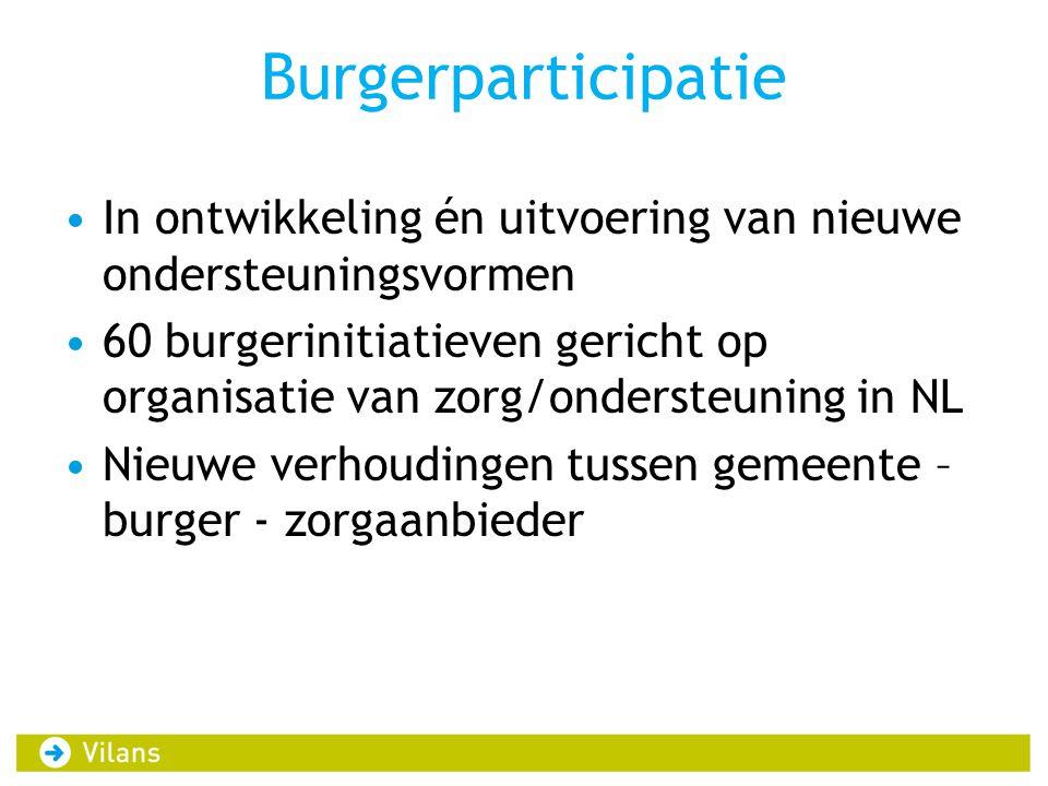 Burgerparticipatie In ontwikkeling én uitvoering van nieuwe ondersteuningsvormen.
