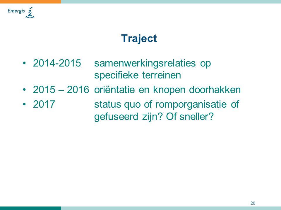 Traject 2014-2015 samenwerkingsrelaties op specifieke terreinen