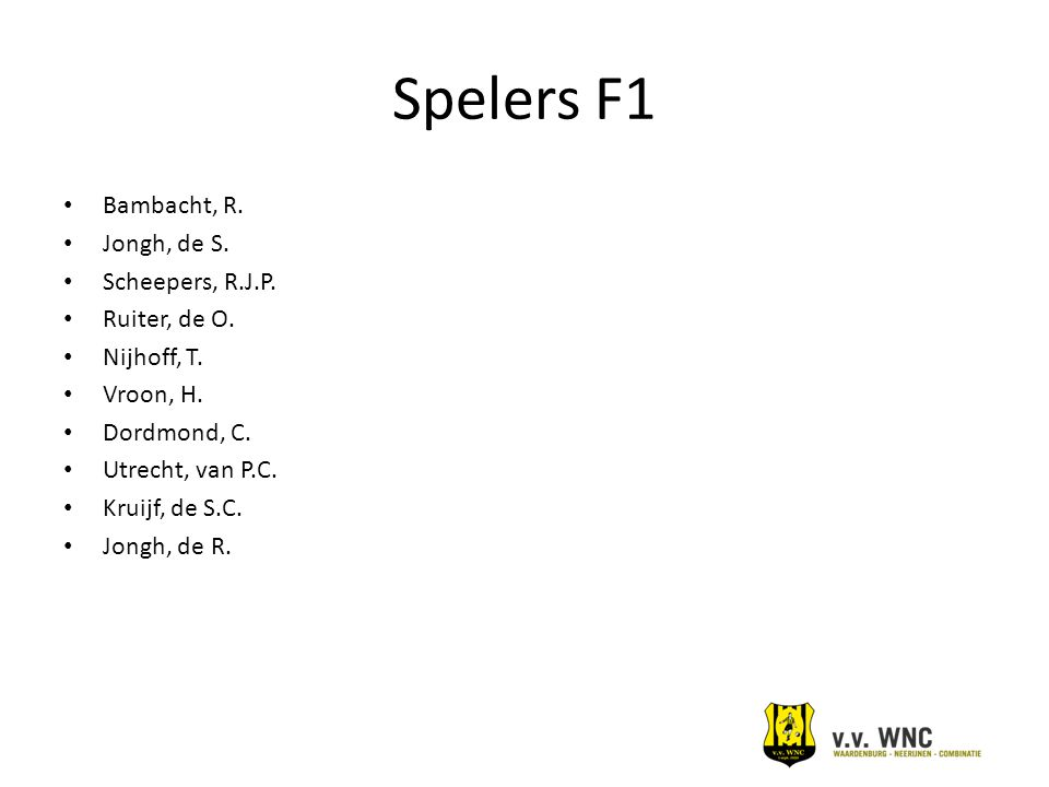 Spelers F1 Bambacht, R. Jongh, de S. Scheepers, R.J.P. Ruiter, de O.