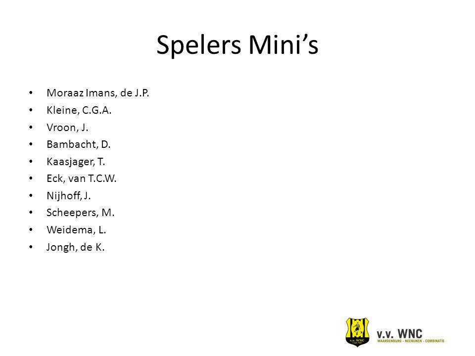 Spelers Mini's Moraaz Imans, de J.P. Kleine, C.G.A. Vroon, J.