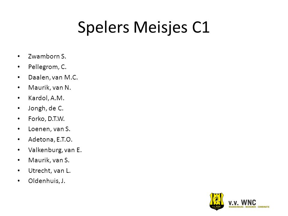 Spelers Meisjes C1 Zwamborn S. Pellegrom, C. Daalen, van M.C.
