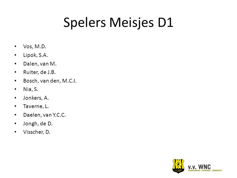 Spelers Meisjes D1 Vos, M.D. Lipok, S.A. Dalen, van M. Ruiter, de J.B.