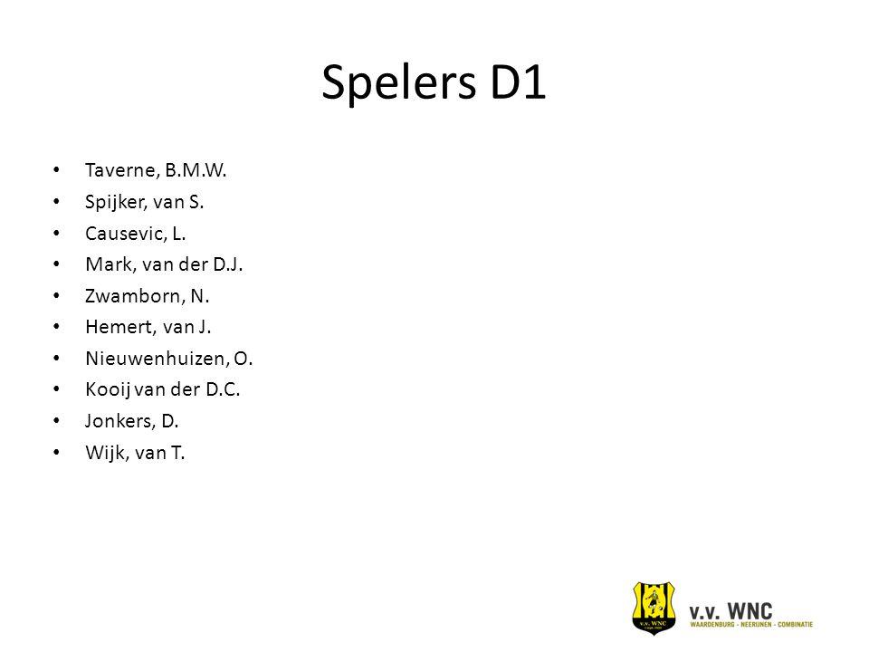 Spelers D1 Taverne, B.M.W. Spijker, van S. Causevic, L.