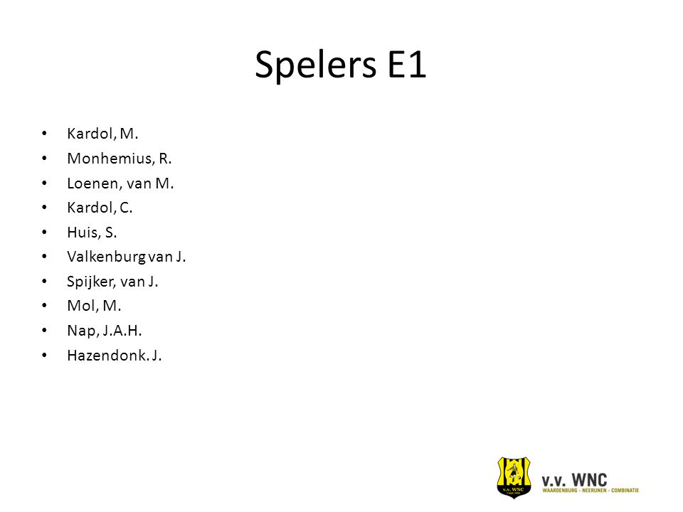 Spelers E1 Kardol, M. Monhemius, R. Loenen, van M. Kardol, C. Huis, S.