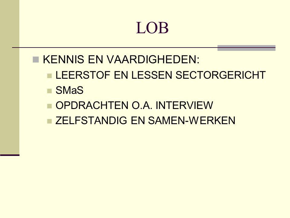 LOB KENNIS EN VAARDIGHEDEN: LEERSTOF EN LESSEN SECTORGERICHT SMaS