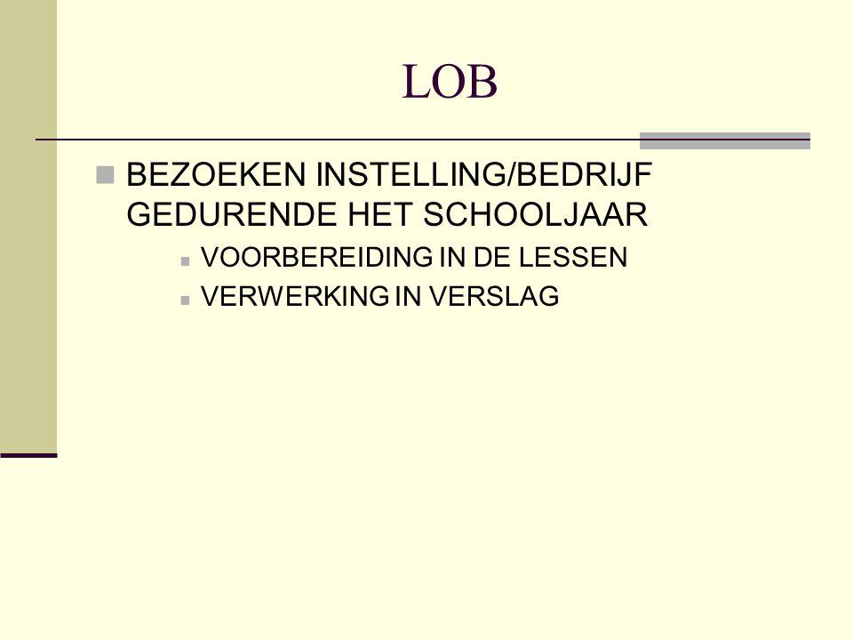 LOB BEZOEKEN INSTELLING/BEDRIJF GEDURENDE HET SCHOOLJAAR